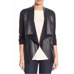 Michael Kors Leather Open Front Cardigan Blazer